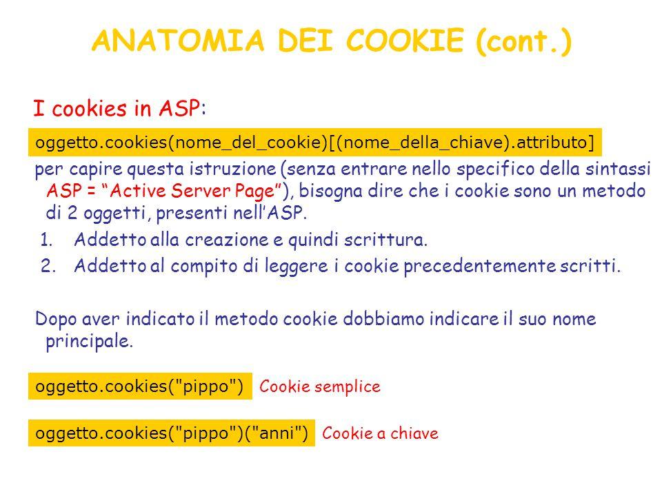 ANATOMIA DEI COOKIE (cont.) I cookies in ASP: per capire questa istruzione (senza entrare nello specifico della sintassi ASP = Active Server Page ), bisogna dire che i cookie sono un metodo di 2 oggetti, presenti nell'ASP.