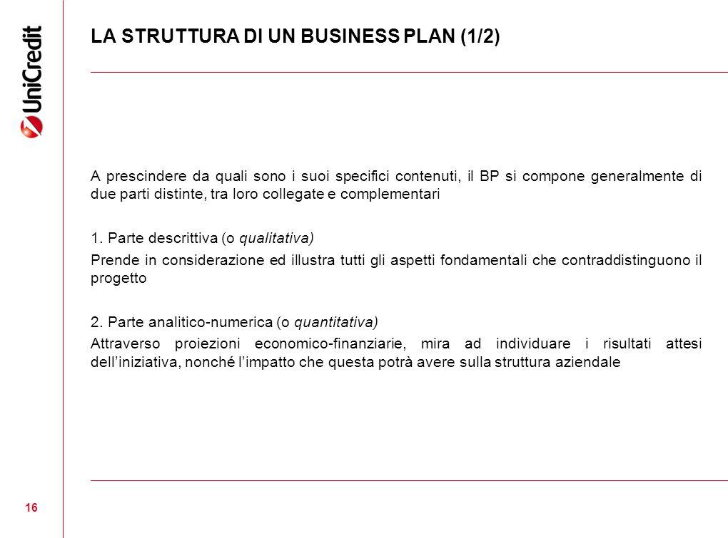 LA STRUTTURA DI UN BUSINESS PLAN (1/2) A prescindere da quali sono i suoi specifici contenuti, il BP si compone generalmente di due parti distinte, tra loro collegate e complementari 1.