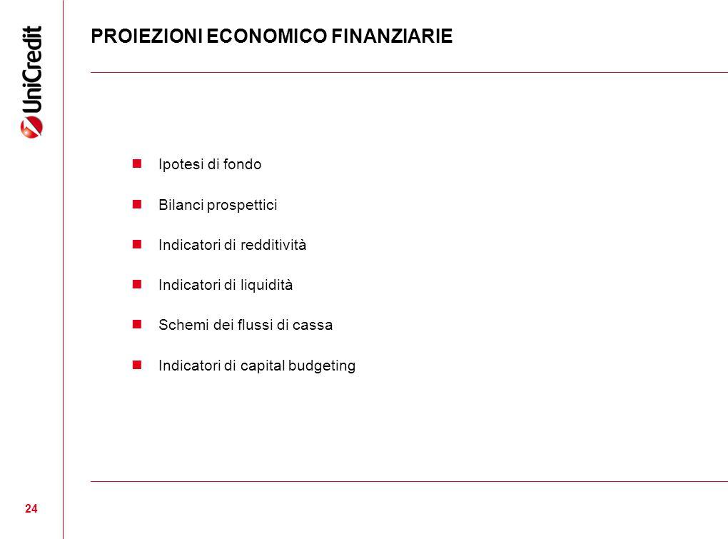 PROIEZIONI ECONOMICO FINANZIARIE 24 Ipotesi di fondo Bilanci prospettici Indicatori di redditività Indicatori di liquidità Schemi dei flussi di cassa Indicatori di capital budgeting