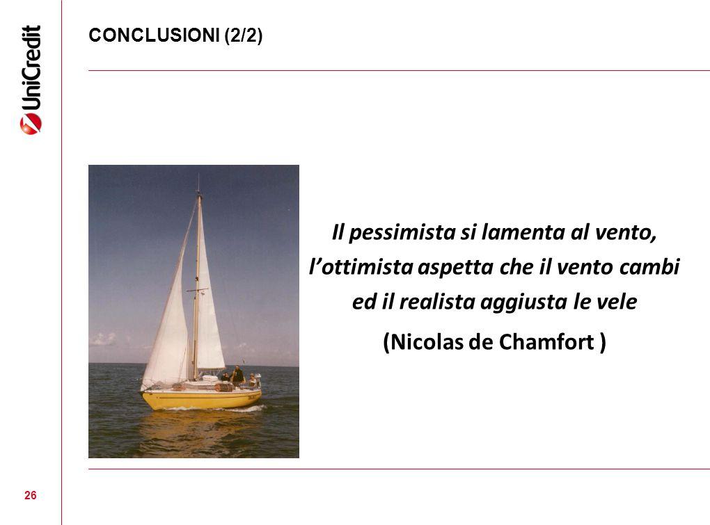 CONCLUSIONI (2/2) Il pessimista si lamenta al vento, l'ottimista aspetta che il vento cambi ed il realista aggiusta le vele (Nicolas de Chamfort ) 26
