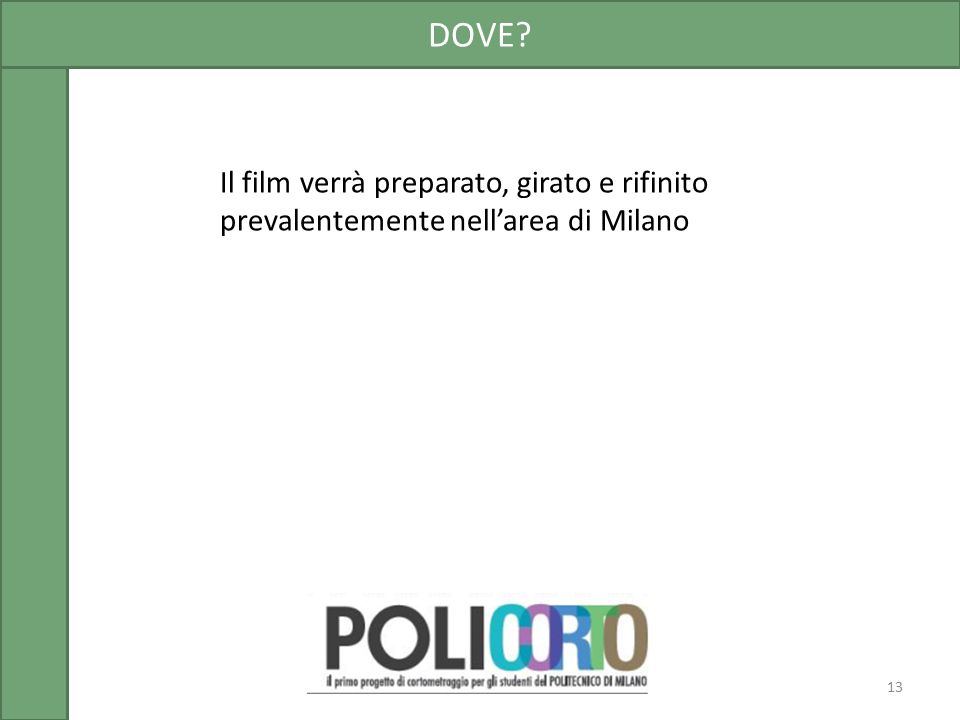 Il film verrà preparato, girato e rifinito prevalentemente nell'area di Milano DOVE? 13
