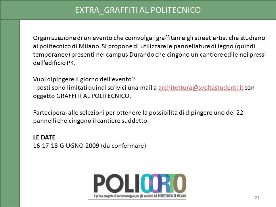 EXTRA_GRAFFITI AL POLITECNICO Organizzazione di un evento che coinvolga i graffitari e gli street artist che studiano al politecnico di Milano. Si pro