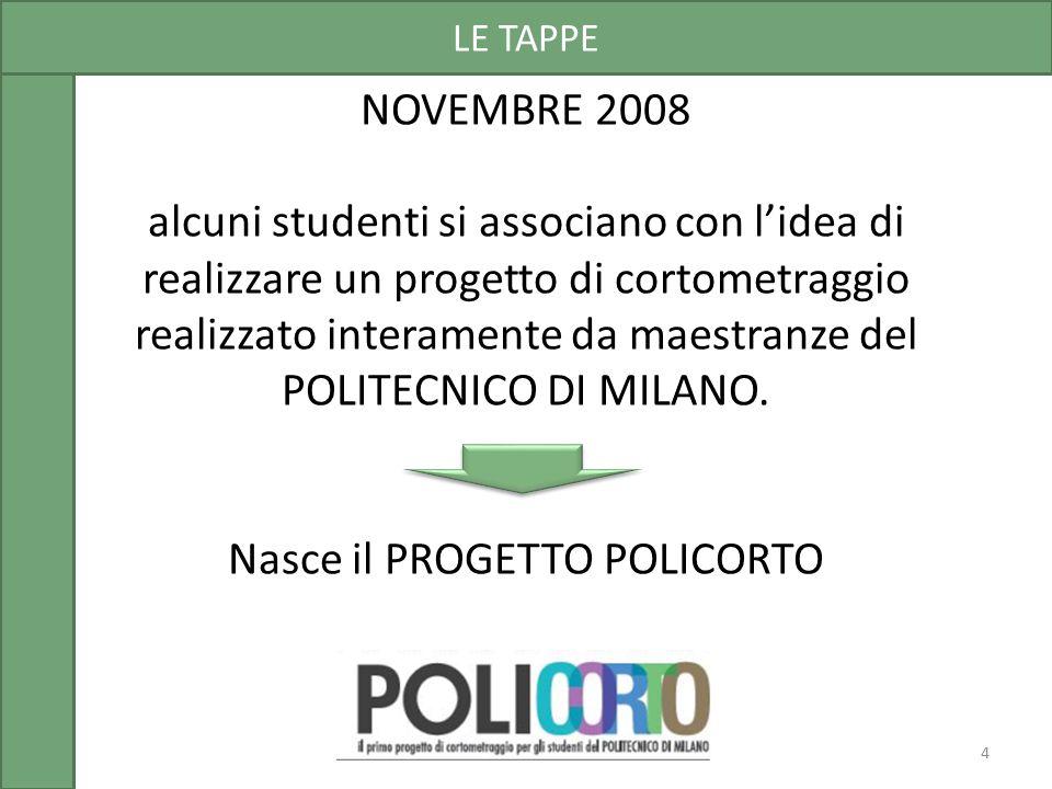 NOVEMBRE 2008 alcuni studenti si associano con l'idea di realizzare un progetto di cortometraggio realizzato interamente da maestranze del POLITECNICO