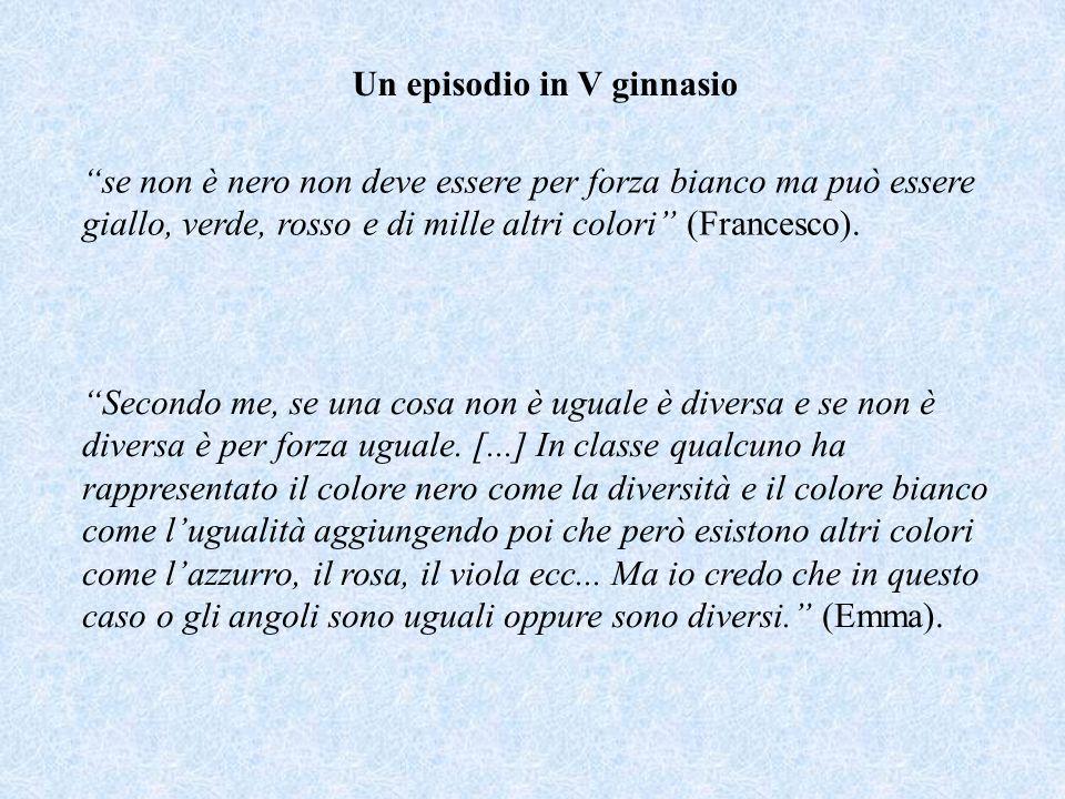 Un episodio in V ginnasio se non è nero non deve essere per forza bianco ma può essere giallo, verde, rosso e di mille altri colori (Francesco).