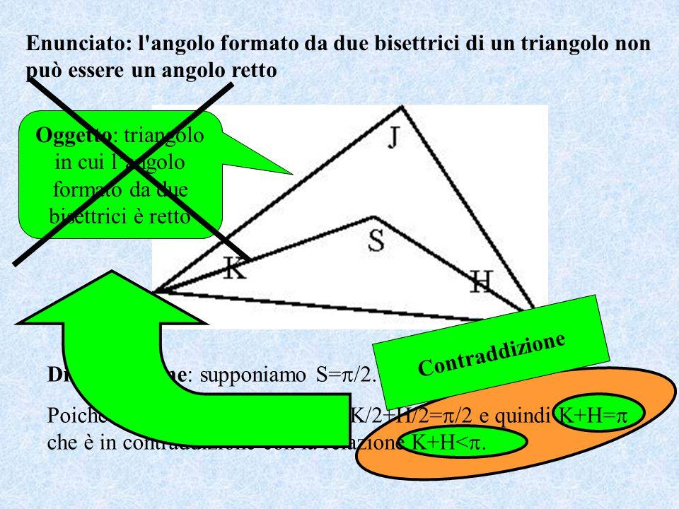 Oggetto: triangolo in cui l'angolo formato da due bisettrici è retto Contraddizione Dimostrazione: supponiamo S=  /2.