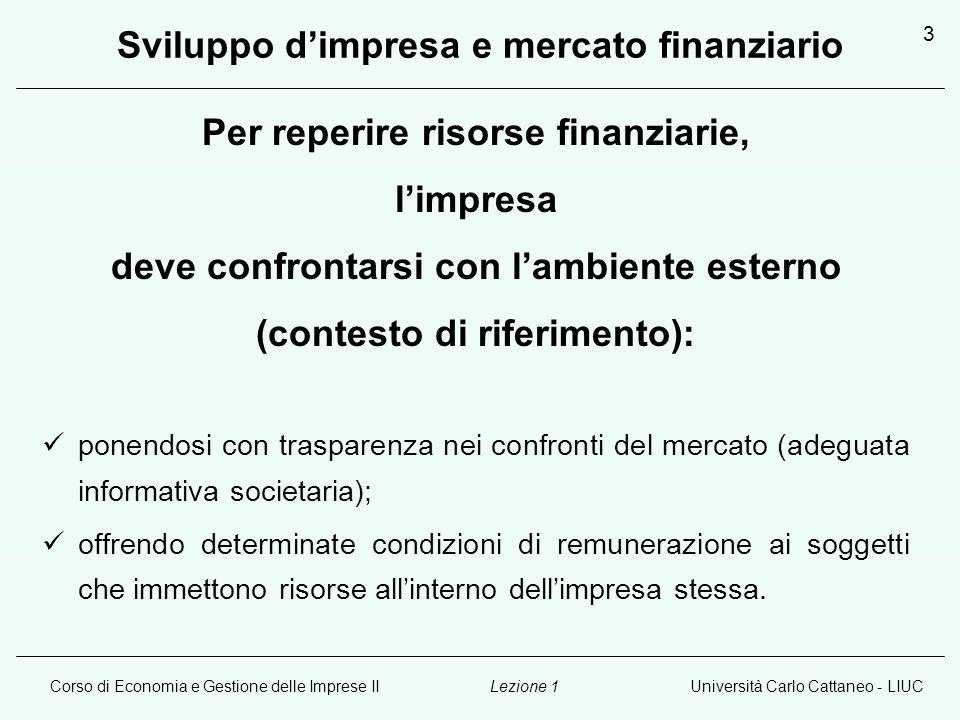 Corso di Economia e Gestione delle Imprese IIUniversità Carlo Cattaneo - LIUCLezione 1 3 Sviluppo d'impresa e mercato finanziario Per reperire risorse finanziarie, l'impresa deve confrontarsi con l'ambiente esterno (contesto di riferimento): ponendosi con trasparenza nei confronti del mercato (adeguata informativa societaria); offrendo determinate condizioni di remunerazione ai soggetti che immettono risorse all'interno dell'impresa stessa.