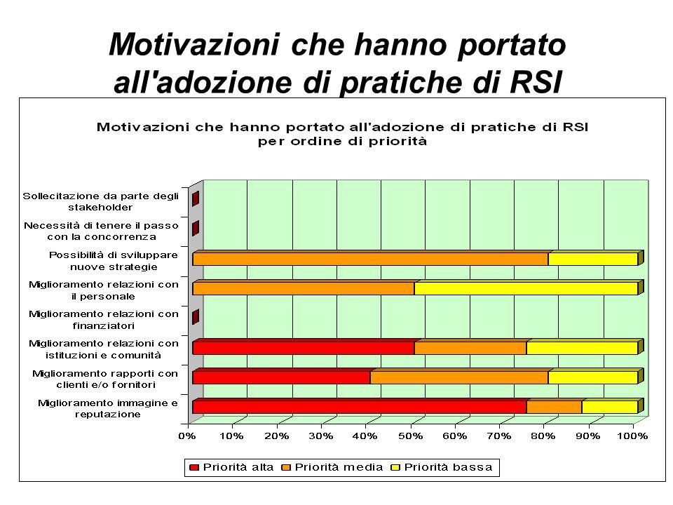33 Motivazioni che hanno portato all adozione di pratiche di RSI