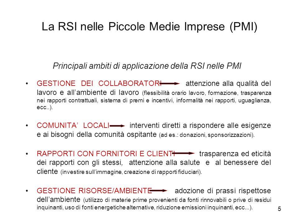 16 PMI della provincia di Pesaro Urbino e RSI: un'indagine esplorativa ã Campione di 20 imprese selezionate in collaborazione con Assindustria di Pesaro.