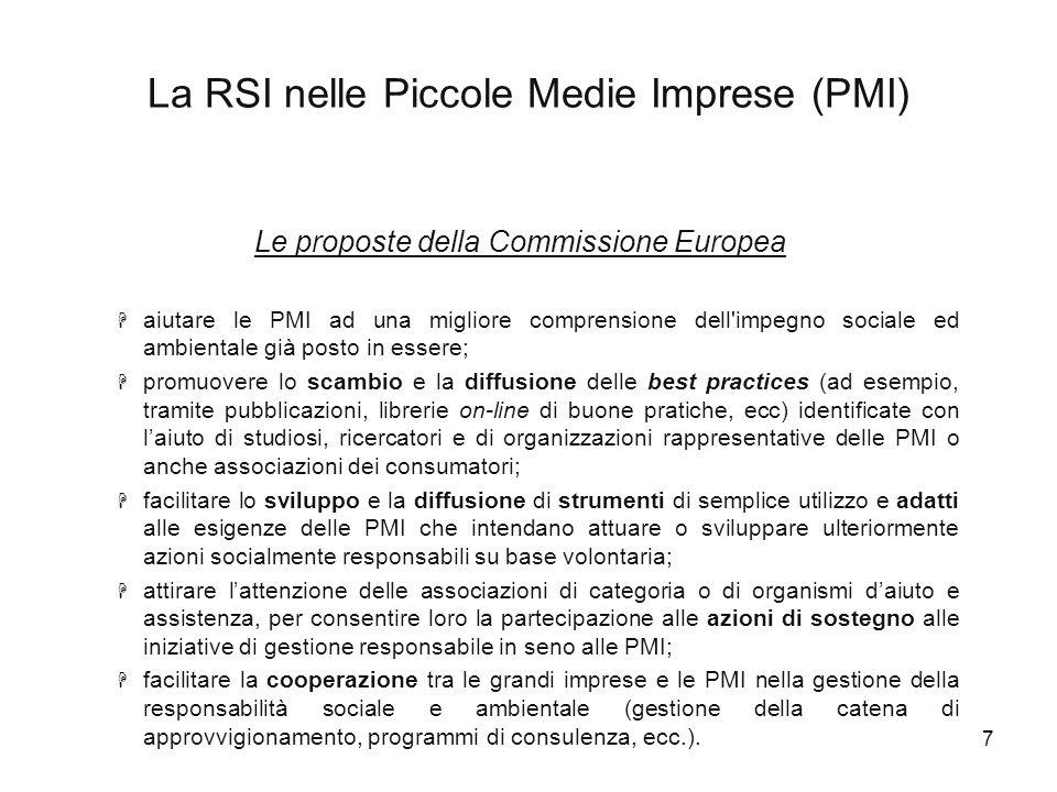 8 L'impegno sociale nelle PMI italiane Ricerca realizzata da ISVI (Istituto per i Valori d'impresa) in collaborazione con Doxa e conclusasi nel gennaio 2003.
