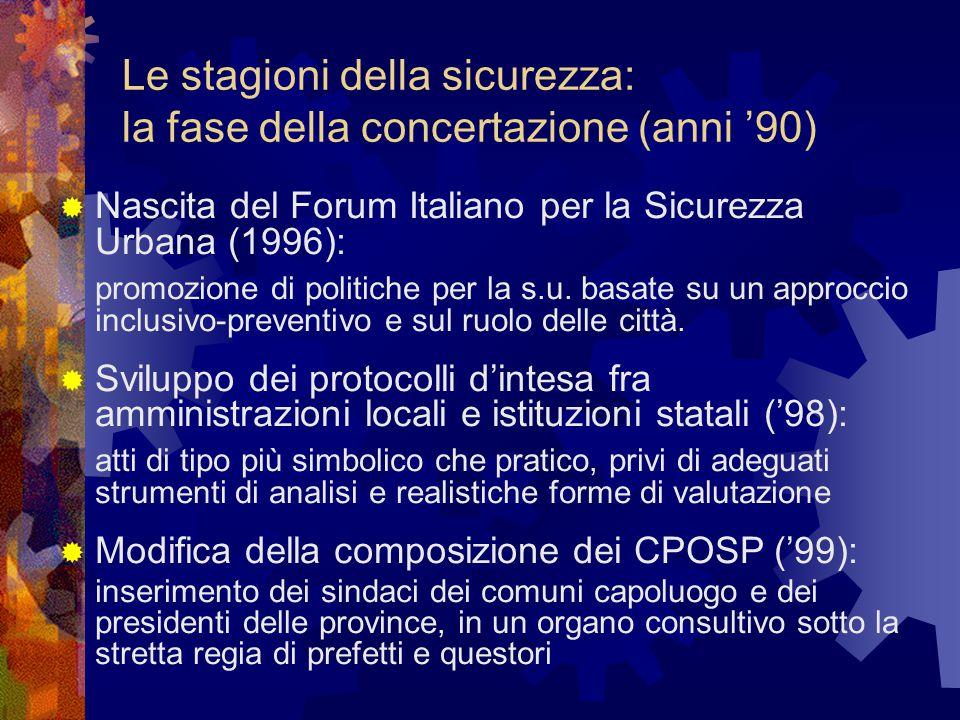 Le stagioni della sicurezza: la fase della concertazione (anni '90)  Nascita del Forum Italiano per la Sicurezza Urbana (1996): promozione di politic