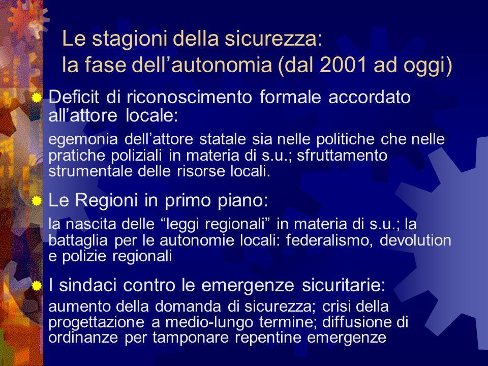 Le stagioni della sicurezza: la fase dell'autonomia (dal 2001 ad oggi)  Deficit di riconoscimento formale accordato all'attore locale: egemonia dell'