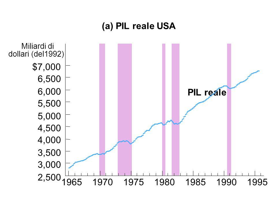 (a) PIL reale USA Miliardi di dollari (del1992) PIL reale 1965197019751980198519901995 2,500 3,000 3,500 4,000 4,500 5,000 5,500 6,000 6,500 $7,000