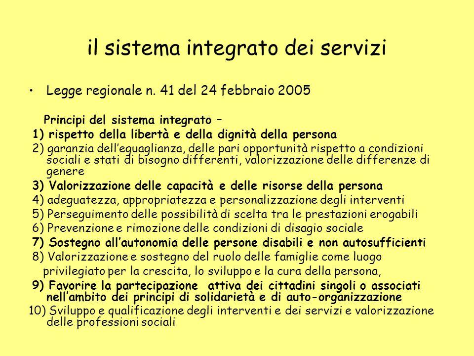 il sistema integrato dei servizi Legge regionale n.