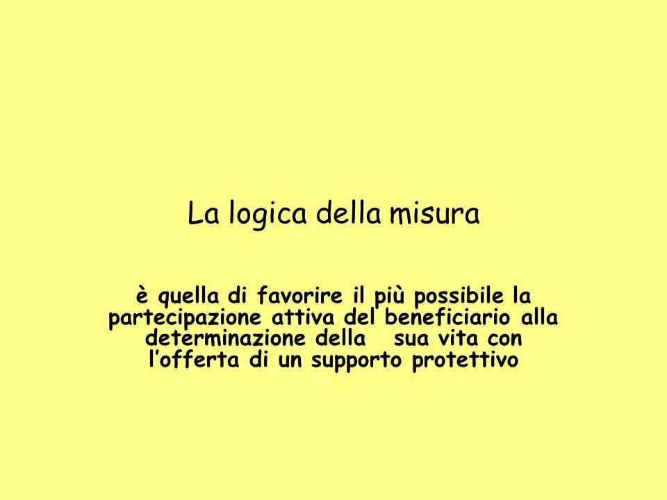 La logica della misura è quella di favorire il più possibile la partecipazione attiva del beneficiario alla determinazione della sua vita con l'offerta di un supporto protettivo