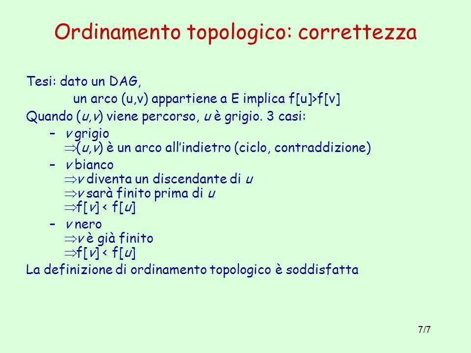 7/7 Ordinamento topologico: correttezza Tesi: dato un DAG, un arco (u,v) appartiene a E implica f[u]>f[v] Quando (u,v) viene percorso, u è grigio. 3 c