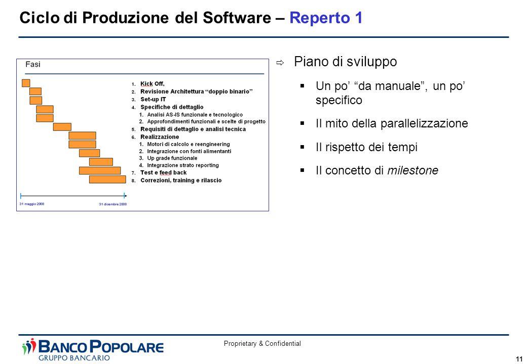 Proprietary & Confidential 11 Ciclo di Produzione del Software – Reperto 1  Piano di sviluppo  Un po' da manuale , un po' specifico  Il mito della parallelizzazione  Il rispetto dei tempi  Il concetto di milestone