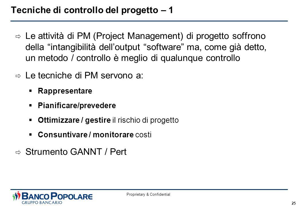 """Proprietary & Confidential 25  Le attività di PM (Project Management) di progetto soffrono della """"intangibilità dell'output """"software"""" ma, come già d"""