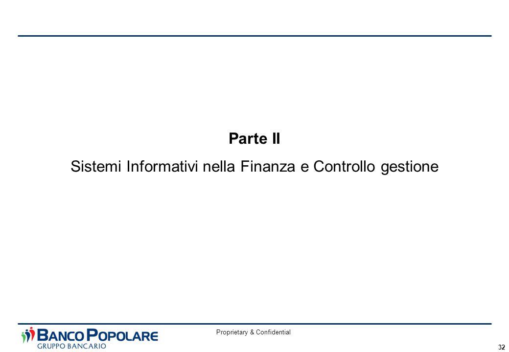 Proprietary & Confidential 32 Parte II Sistemi Informativi nella Finanza e Controllo gestione