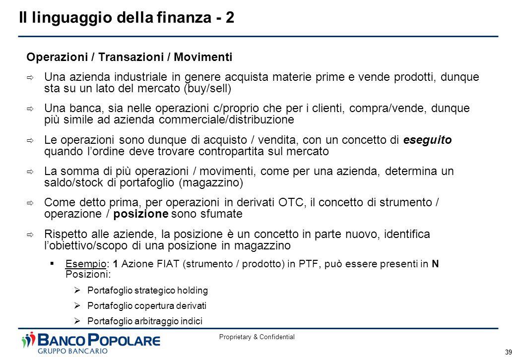 Proprietary & Confidential 39 Operazioni / Transazioni / Movimenti  Una azienda industriale in genere acquista materie prime e vende prodotti, dunque
