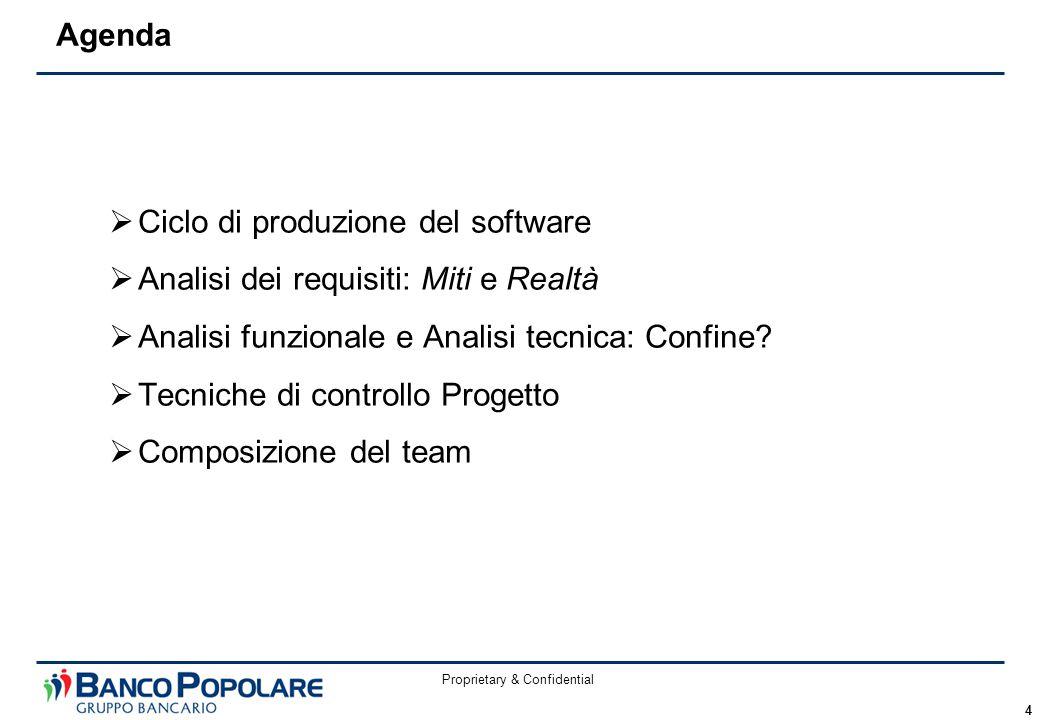 Proprietary & Confidential 4  Ciclo di produzione del software  Analisi dei requisiti: Miti e Realtà  Analisi funzionale e Analisi tecnica: Confine.