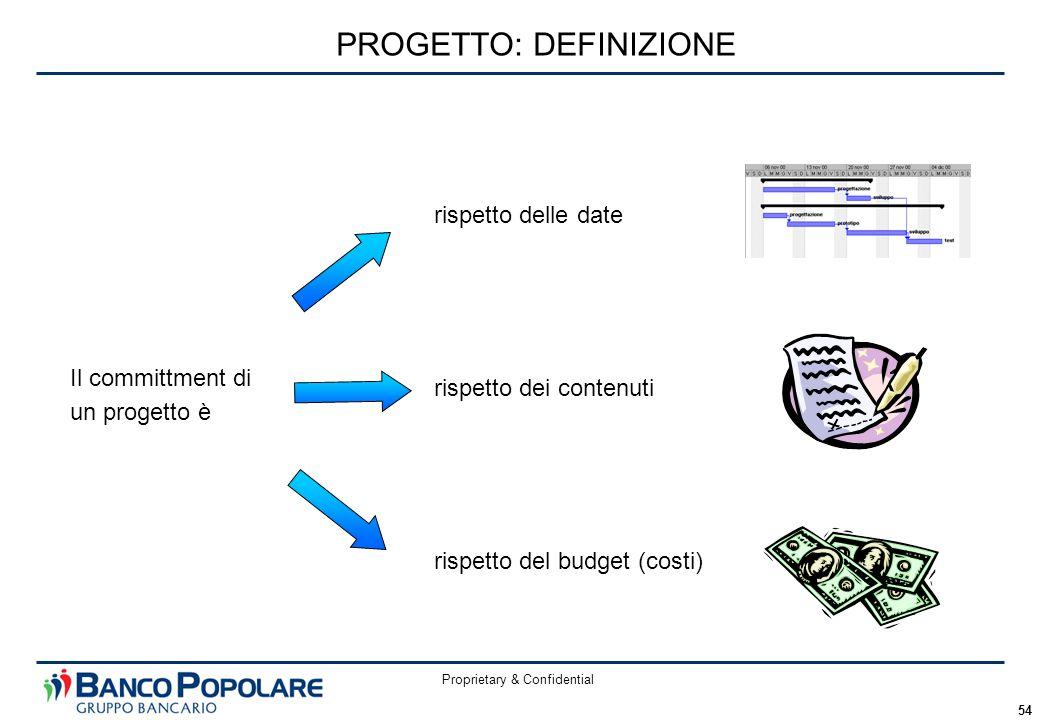 Proprietary & Confidential 54 Il committment di un progetto è PROGETTO: DEFINIZIONE rispetto delle date rispetto dei contenuti rispetto del budget (costi)