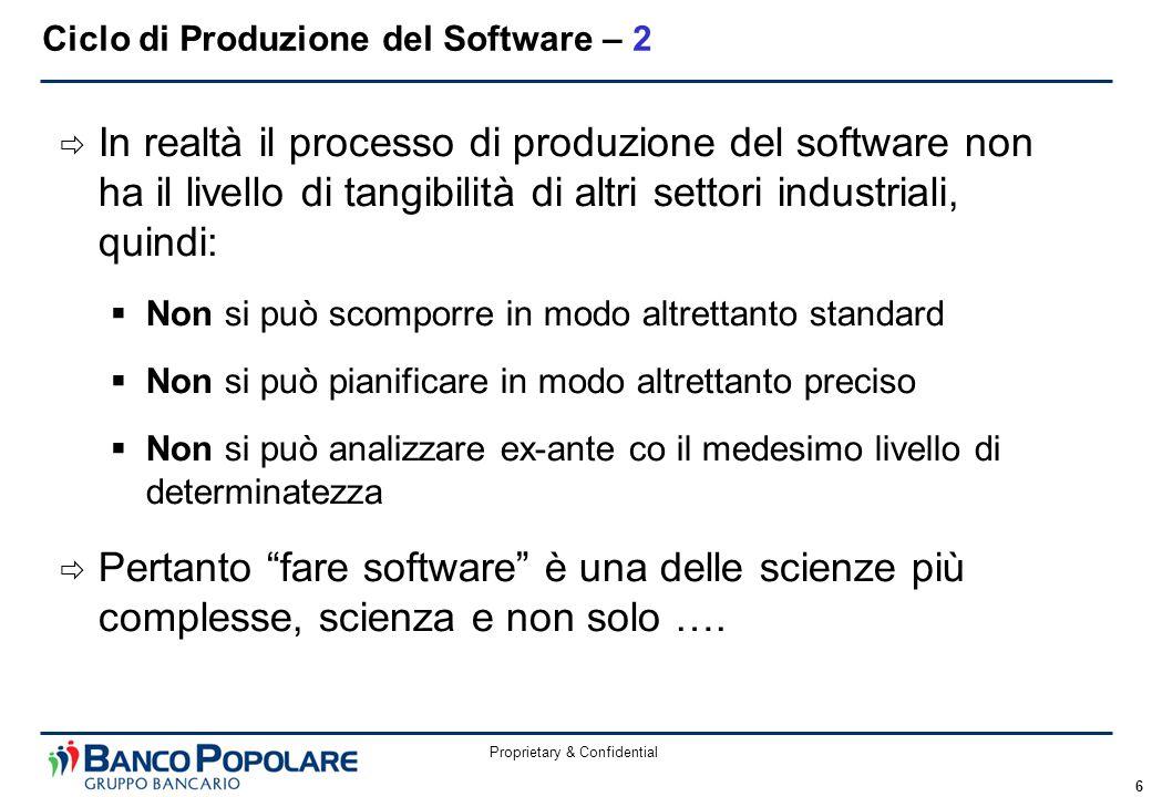 Proprietary & Confidential 6  In realtà il processo di produzione del software non ha il livello di tangibilità di altri settori industriali, quindi: