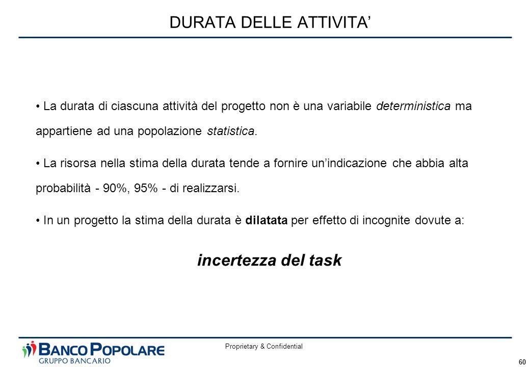 Proprietary & Confidential 60 DURATA DELLE ATTIVITA' La durata di ciascuna attività del progetto non è una variabile deterministica ma appartiene ad una popolazione statistica.