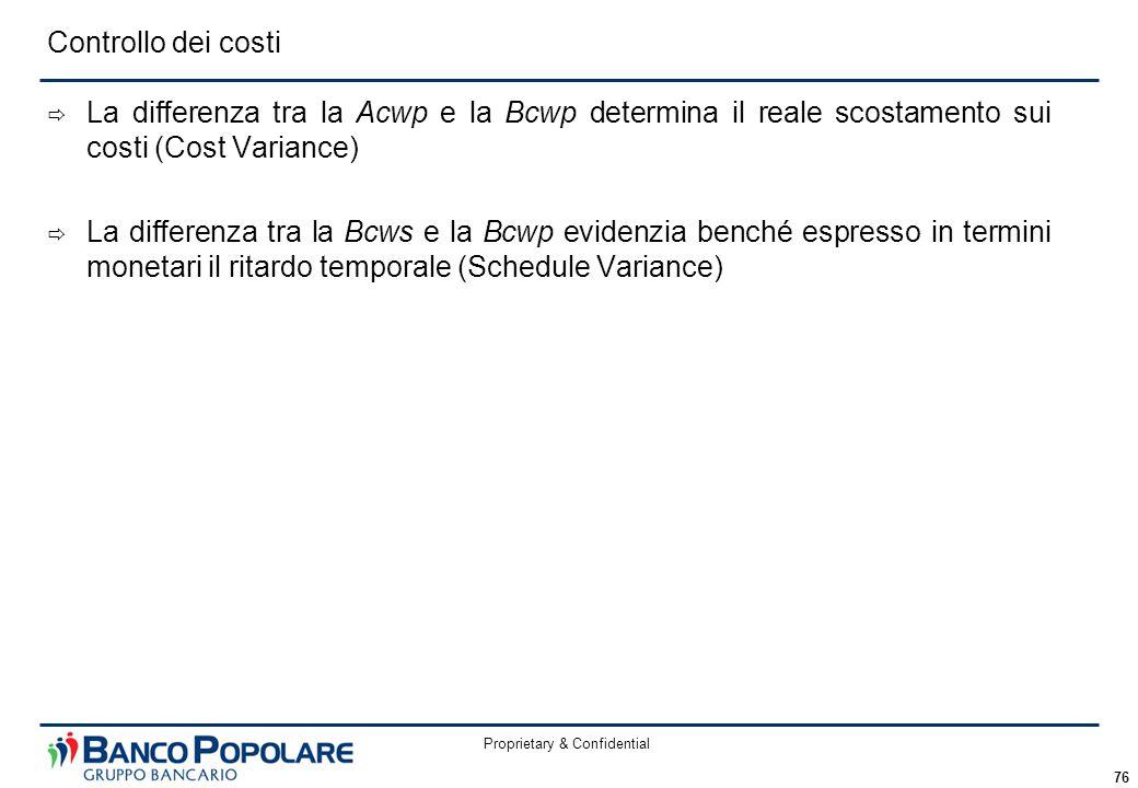 Proprietary & Confidential 76  La differenza tra la Acwp e la Bcwp determina il reale scostamento sui costi (Cost Variance)  La differenza tra la Bcws e la Bcwp evidenzia benché espresso in termini monetari il ritardo temporale (Schedule Variance) Controllo dei costi