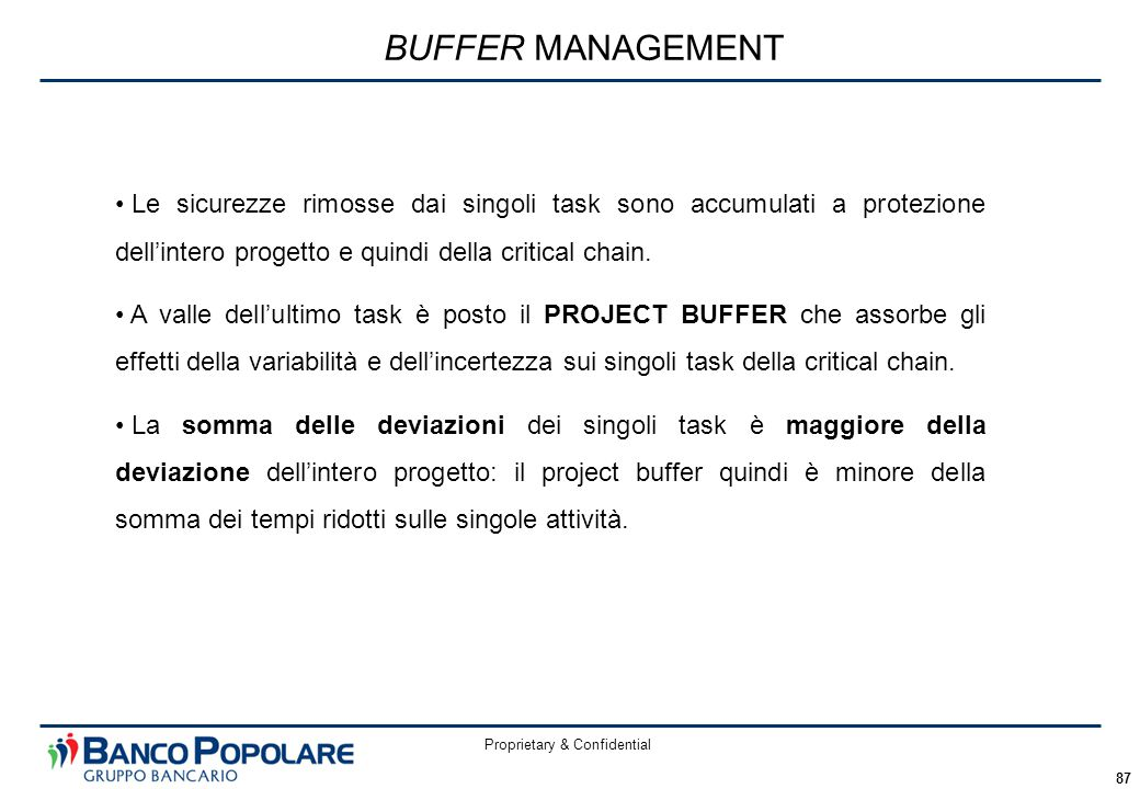 Proprietary & Confidential 87 BUFFER MANAGEMENT Le sicurezze rimosse dai singoli task sono accumulati a protezione dell'intero progetto e quindi della critical chain.