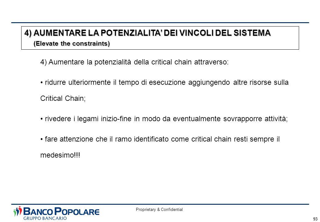 Proprietary & Confidential 93 4) Aumentare la potenzialità della critical chain attraverso: ridurre ulteriormente il tempo di esecuzione aggiungendo a