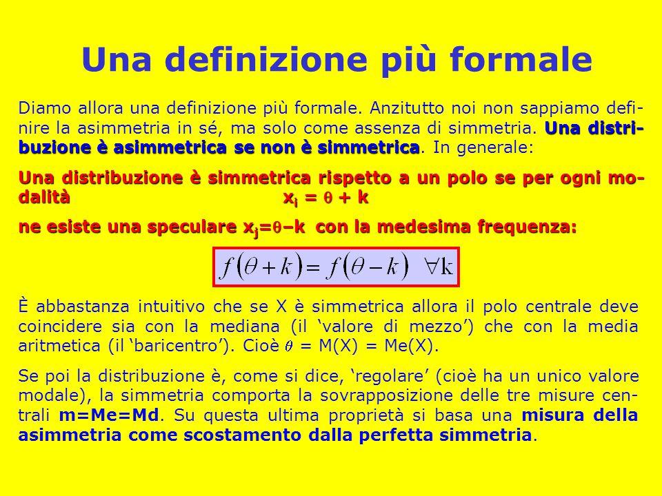 Una definizione più formale Una distri- buzione è asimmetrica se non è simmetrica Diamo allora una definizione più formale. Anzitutto noi non sappiamo