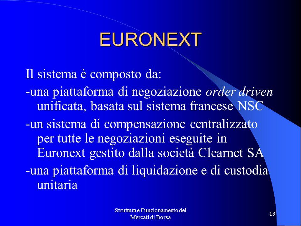 Struttura e Funzionamento dei Mercati di Borsa 13 EURONEXT Il sistema è composto da: -una piattaforma di negoziazione order driven unificata, basata sul sistema francese NSC -un sistema di compensazione centralizzato per tutte le negoziazioni eseguite in Euronext gestito dalla società Clearnet SA -una piattaforma di liquidazione e di custodia unitaria