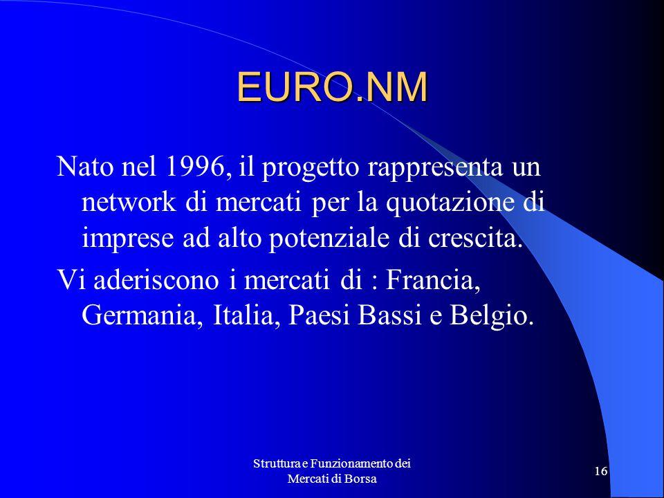 Struttura e Funzionamento dei Mercati di Borsa 16 EURO.NM Nato nel 1996, il progetto rappresenta un network di mercati per la quotazione di imprese ad alto potenziale di crescita.