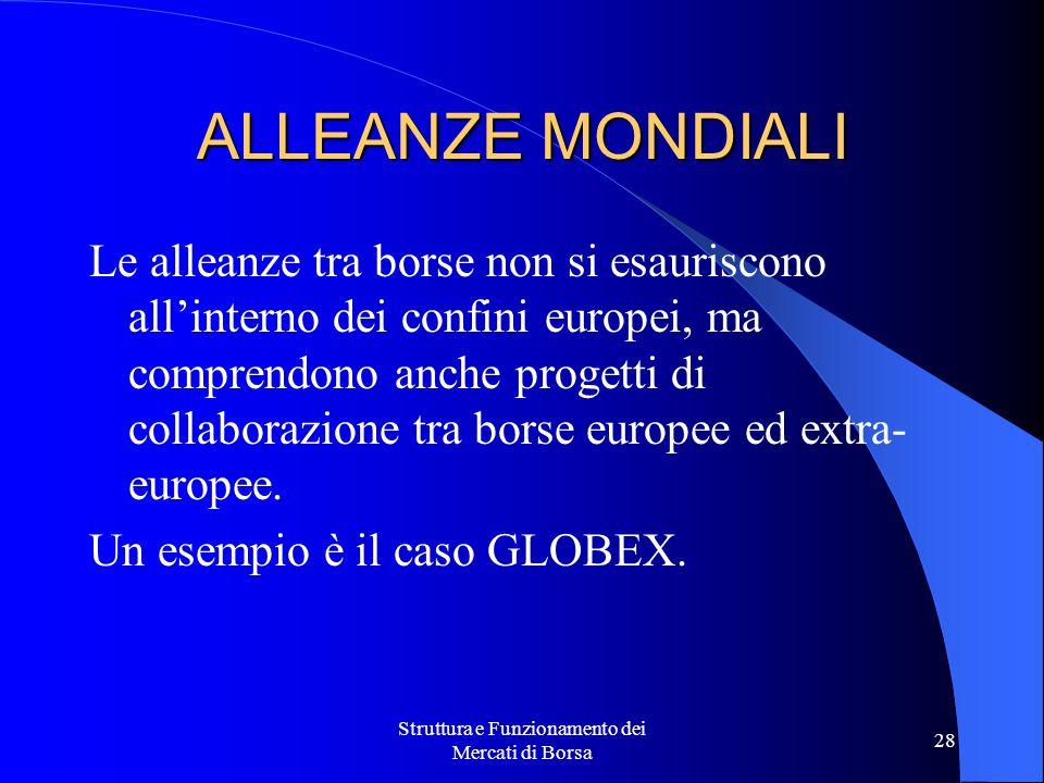 Struttura e Funzionamento dei Mercati di Borsa 28 ALLEANZE MONDIALI Le alleanze tra borse non si esauriscono all'interno dei confini europei, ma comprendono anche progetti di collaborazione tra borse europee ed extra- europee.