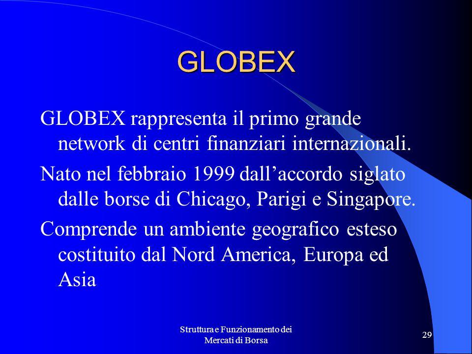 Struttura e Funzionamento dei Mercati di Borsa 29 GLOBEX rappresenta il primo grande network di centri finanziari internazionali. Nato nel febbraio 19