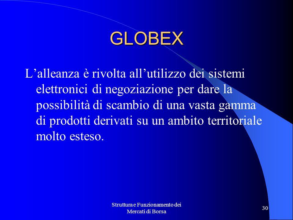 Struttura e Funzionamento dei Mercati di Borsa 30 GLOBEX L'alleanza è rivolta all'utilizzo dei sistemi elettronici di negoziazione per dare la possibilità di scambio di una vasta gamma di prodotti derivati su un ambito territoriale molto esteso.