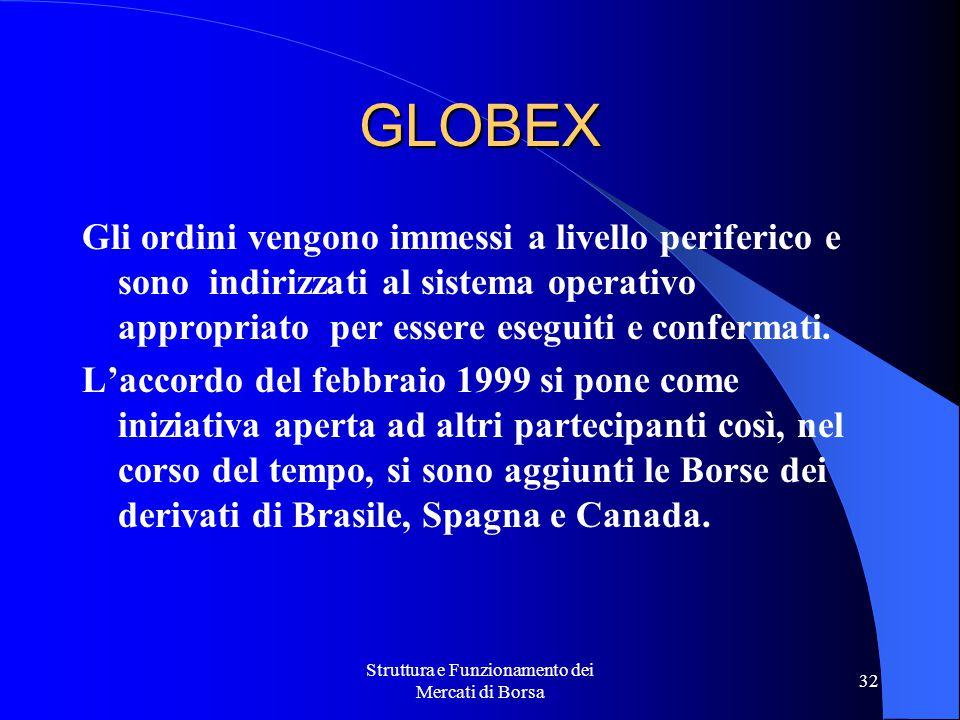 Struttura e Funzionamento dei Mercati di Borsa 32 GLOBEX Gli ordini vengono immessi a livello periferico e sono indirizzati al sistema operativo appropriato per essere eseguiti e confermati.