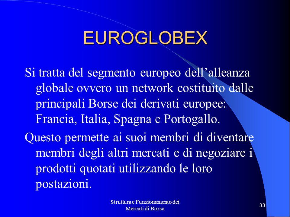 Struttura e Funzionamento dei Mercati di Borsa 33 EUROGLOBEX Si tratta del segmento europeo dell'alleanza globale ovvero un network costituito dalle principali Borse dei derivati europee: Francia, Italia, Spagna e Portogallo.