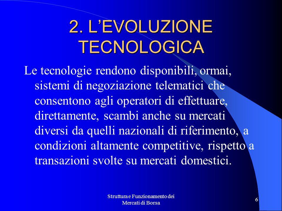 Struttura e Funzionamento dei Mercati di Borsa 6 2. L'EVOLUZIONE TECNOLOGICA Le tecnologie rendono disponibili, ormai, sistemi di negoziazione telemat