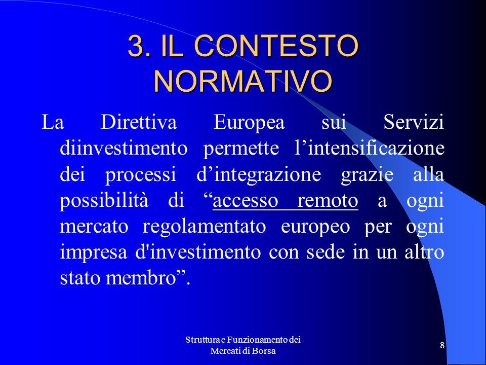 Struttura e Funzionamento dei Mercati di Borsa 8 3. IL CONTESTO NORMATIVO La Direttiva Europea sui Servizi diinvestimento permette l'intensificazione