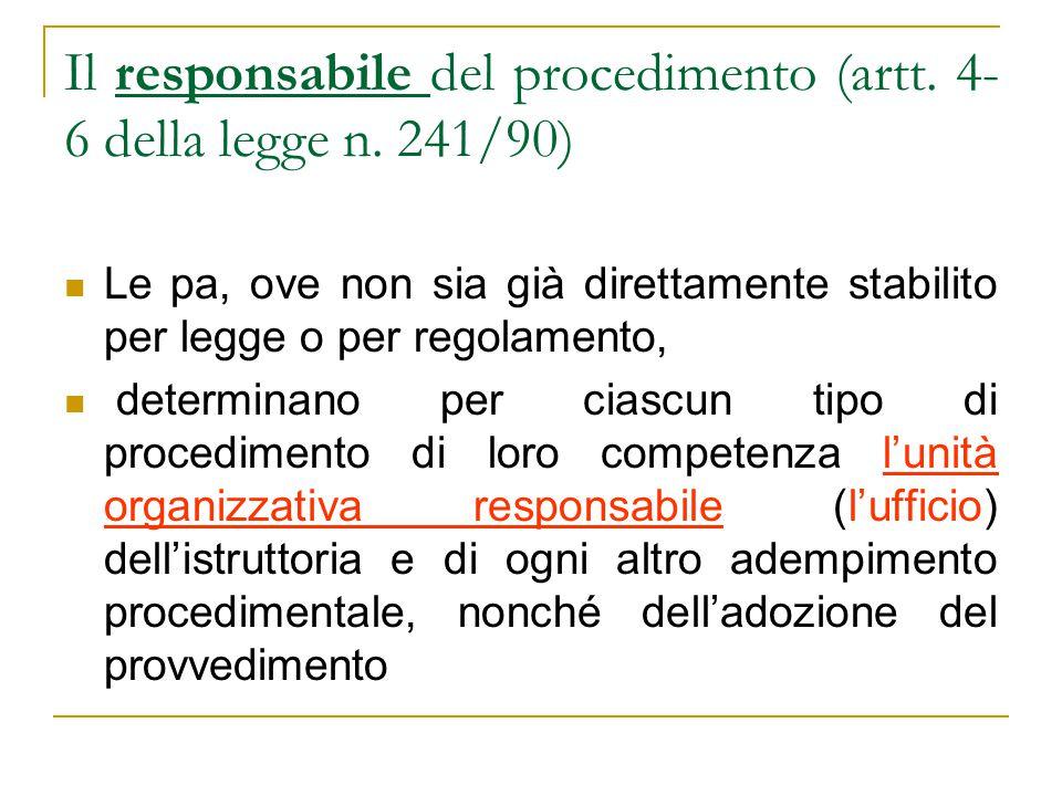 Il responsabile del procedimento (artt. 4- 6 della legge n.