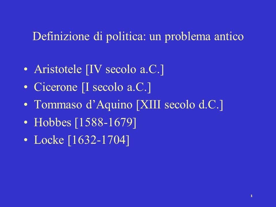 1 Definizione di politica: un problema antico Aristotele [IV secolo a.C.] Cicerone [I secolo a.C.] Tommaso d'Aquino [XIII secolo d.C.] Hobbes [1588-16