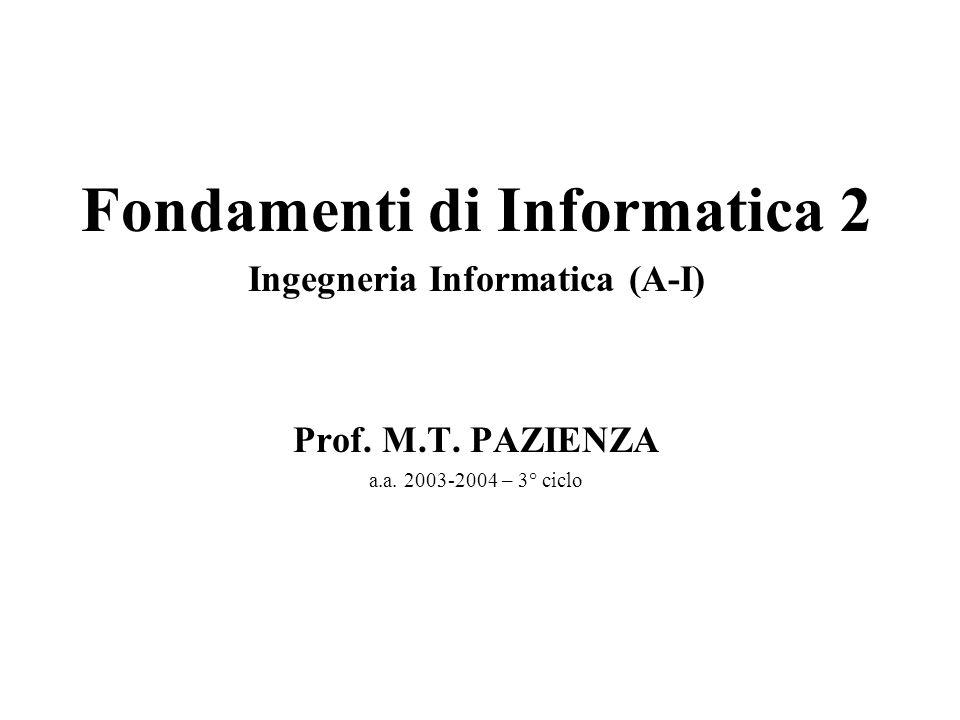 Fondamenti di Informatica 2 Ingegneria Informatica (A-I) Prof.