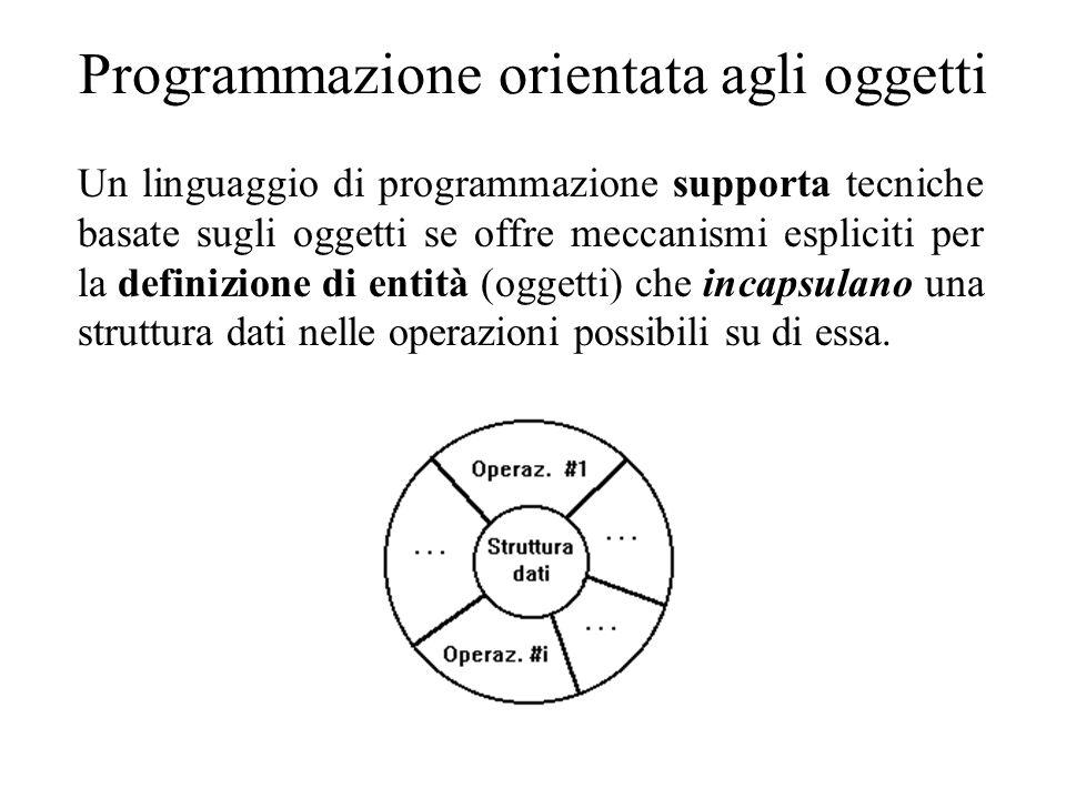 Programmazione orientata agli oggetti Un linguaggio di programmazione supporta tecniche basate sugli oggetti se offre meccanismi espliciti per la definizione di entità (oggetti) che incapsulano una struttura dati nelle operazioni possibili su di essa.
