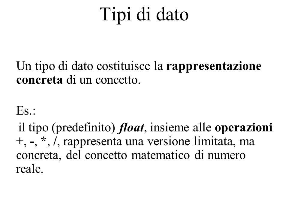 Tipi di dato Un tipo di dato costituisce la rappresentazione concreta di un concetto.