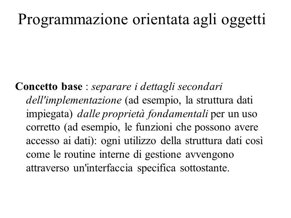 Programmazione orientata agli oggetti Ottimizzare la risoluzione di classi di problemi richiede la definizione di proprietà essenziali (criteri di astrazione) che si devono implementare in una classe di problemi ben specificata (dominio del problema).
