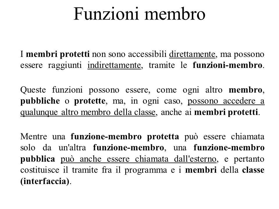 Funzioni membro I membri protetti non sono accessibili direttamente, ma possono essere raggiunti indirettamente, tramite le funzioni-membro.