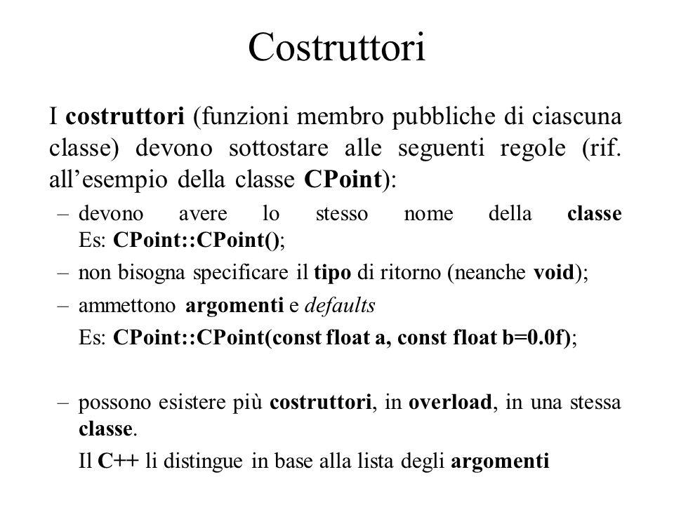 Costruttori I costruttori (funzioni membro pubbliche di ciascuna classe) devono sottostare alle seguenti regole (rif.