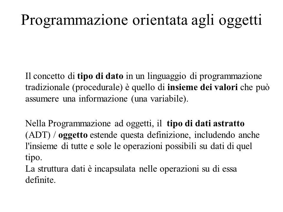 Programmazione orientata agli oggetti La programmazione ad oggetti consente di manipolare gruppi di variabili correlate e non singole variabili.