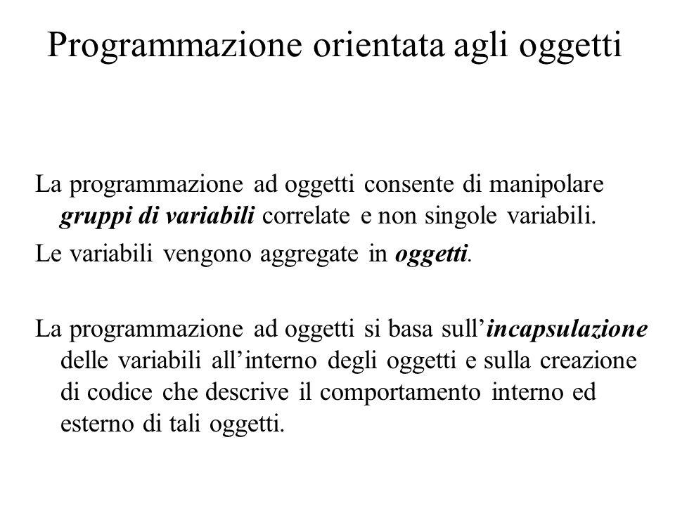 Programmazione orientata agli oggetti L'incapsulamento è la proprietà per cui la struttura interna dell'oggetto è nascosta agli altri oggetti.